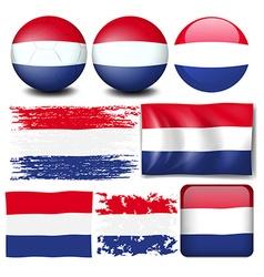 Nederland flag in different design vector image