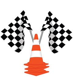 Racing flags and traffiic cones vector image