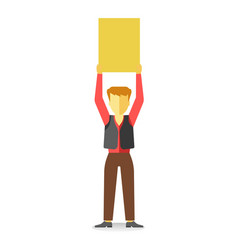 striking man holding empty banner above head vector image
