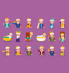 funny king character posing in different vector image