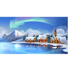 Winter landscape Christmas cottages Festive vector image vector image