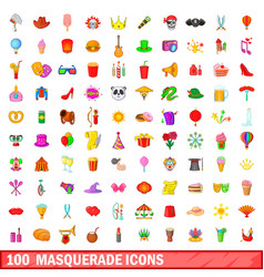 100 masquerade icons set cartoon style vector