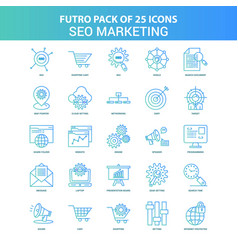 25 green and blue futuro seo marketing icon pack vector image