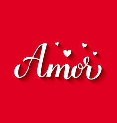 Amor calligraphy hand lettering on red background vector