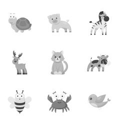 Animals set icons in monochrome style Big vector image