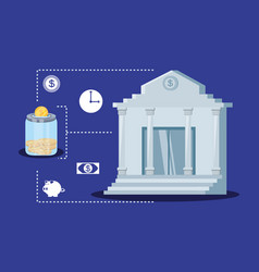 bank building with set icons economy finance vector image