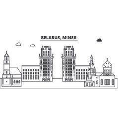 Belarus minsk line skyline vector