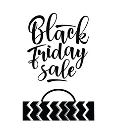 black friday sale inscription with shopping bag vector image