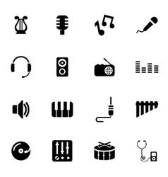 Black music icon set vector