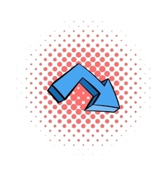 Blue arrow icon comics style vector