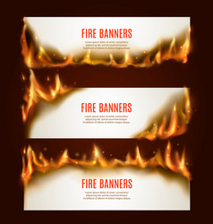burning paper horizontal banners with fire vector image