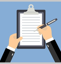 Business man hands signing contract flat vector