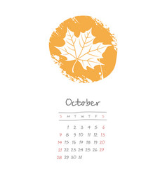 Calendar 2018 months october week starts sunday vector