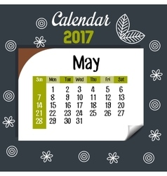 calendar may 2017 template icon vector image