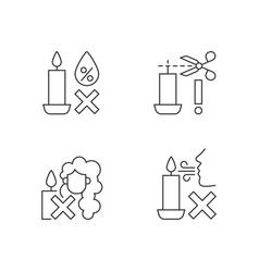 Candle safety warning linear manual label icons vector