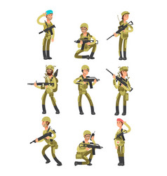 cartoon soldiers in various actions military men vector image