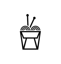 chinese noodle in box and sticks flat icon vector image
