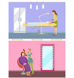 cosmetician cosmetic care treatment set vector image