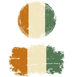 Cote d Ivoire round and square grunge flags vector image
