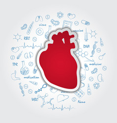 creative medical care background with human heart vector image
