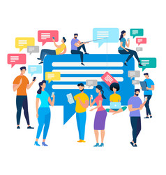 crowd of people stand with smartphones chatting vector image