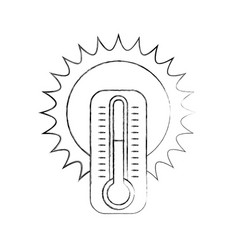cute sun with termometer vector image