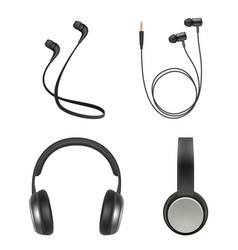 Earphones realistic headphone music accessory vector