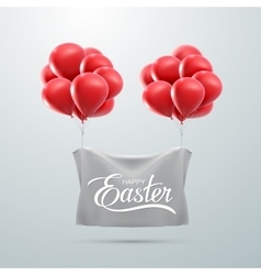 Easter Lettering With Flying Balloons vector image