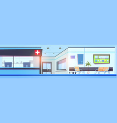 Empty hospital hall interior clinic waiting room vector