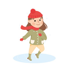 Excited girl in warm clothing ice skating vector