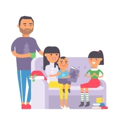 Family on couch vector