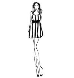 Fashion models sketch cartoon girl in dress vector