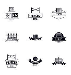 Fence protection logo set simple style vector