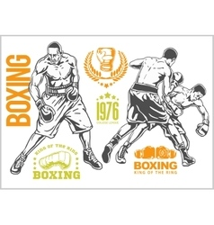 Fight between two boxers - set of monochrome vector image