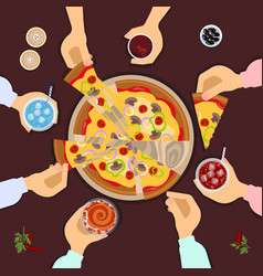 Friends eating pizza vector