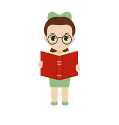 girl holding a book vector image