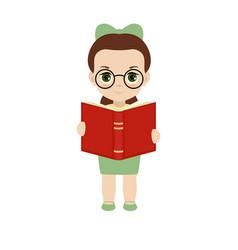 Girl holding a book vector
