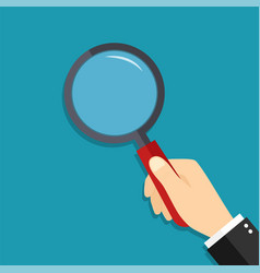 glass magnify in hand lens magnifying loupe vector image