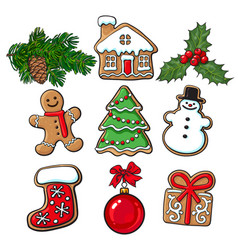 glazed homemade christmas gingerbread cookies vector image
