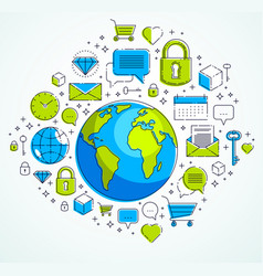 global communication concept planet earth with vector image