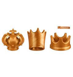 golden crown 3d icon set vector image