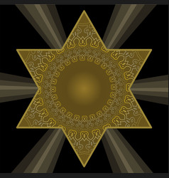 Golden star of david in antique style filigree vector