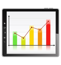 Graph in tablet pc vector