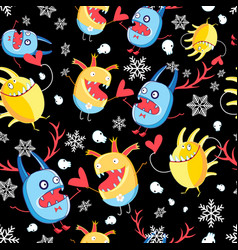 graphic pattern with monsters in love vector image