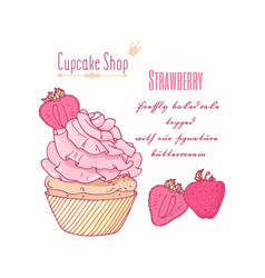 Hand drawn cupcake strawberry flavor vector