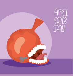 Happy april fools day card with airbag and crazy vector