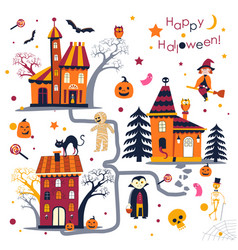 Happy halloween holiday in autumn houses with vector