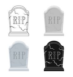 Headstone icon in cartoon style isolated on white vector