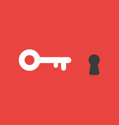 icon concept of key and keyhole on red background vector image
