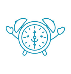 kawaii alarm clock time alert bell hour cartoon vector image